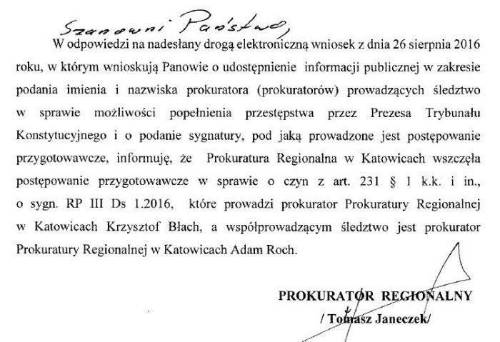 Prokuratura wszczęła postępowanie w sprawie możliwości popełnienia przestępstwa w TK