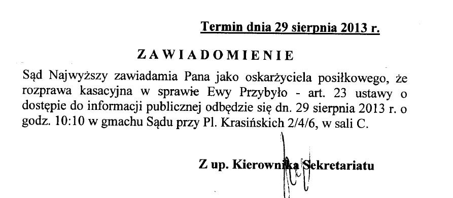 Sąd Najwyższy zawiadomienie o terminie 29 sierpnia 2013 r. IV KK 46/12