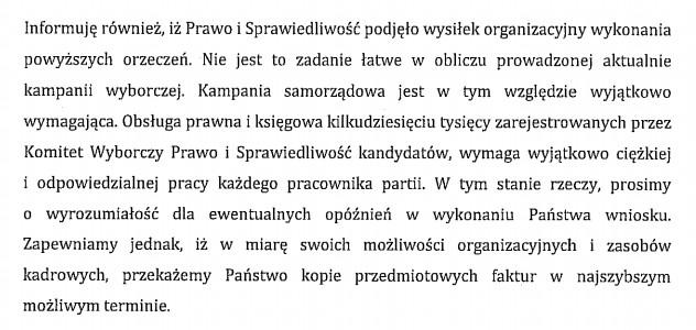 Odpowiedź PiS na wniosek o udostępnienie faktur po wyroku NSA